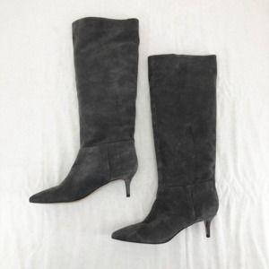 Black Suede STEVEN Steve Madden Kendrick Pointed Toe Knee High Boots